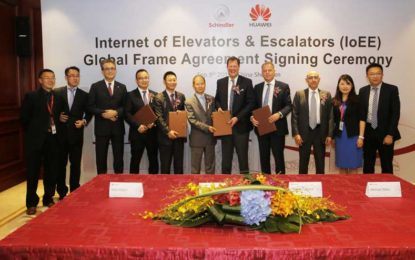 Huawei, Schindler Signs Global Agreement to Gush IoT Connectivity