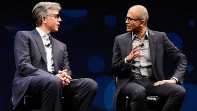 SAP CEO Bill McDermott (left) and Satya Nadella, CEO at Microsoft