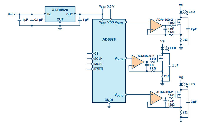 Simplified schematic of an LED driver