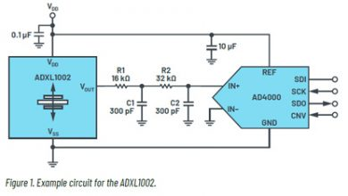Figure 1. Example circuit for the ADXL1002.