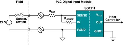 Figure 6 - In this example the isolated digital input circuit uses the TI ISO1211